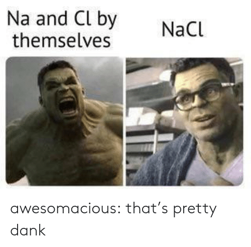 Dank, Tumblr, and Blog: Na and Cl by  themselves  NaCl awesomacious:  that's pretty dank