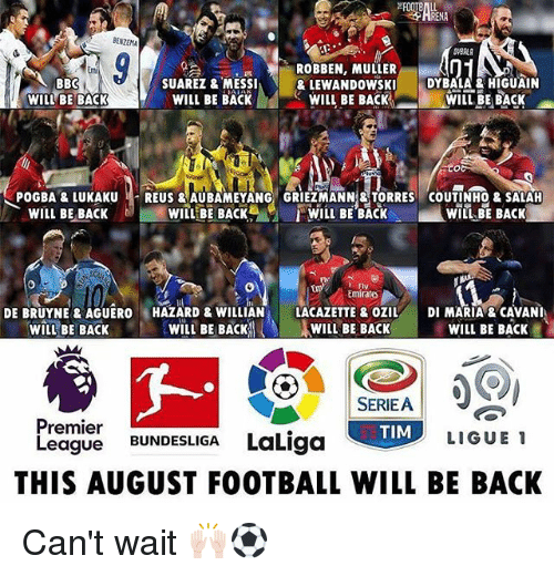 Football, Memes, and Premier League: NA  BENZEMA  BBC  WILL BE BACK  SUAREZ & MESSIA  WILL BE BACK  ROBBEN, MULLER  & LEWANDOWSKI  WILL BE BACK  . DY BALA'& HIGUAIN  WILL BE BACK  POGBA & LUKAKU REUS & AUBAMEYANG GRIEZMANN TORRES COUTINH0 & SALAH  WILL(BE BACK%. r WILL BE BACK  WILL BE BACK  WILL BE BACK  - Fly  Emirate  DE BRUYNE&AGUERO HAZARD & WILLIAN LACAZETTE&OZIL DI MARIA &CAVANI  wiLEBE BACK  WILL BE BACK 凸し  AWILL BE BACK  WILL BE BACK  SERIEA  TIM  Premier  League BUNDESLIGA LaLi  LIGUE 1  THIS AUGUST FOOTBALL WILL BE BACK Can't wait 🙌🏻⚽️