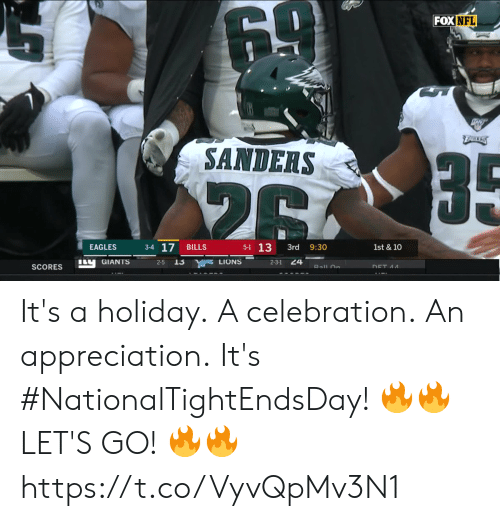 appreciation: NA1ONAL  DAY  TA  DWEL It's a holiday. A celebration. An appreciation. It's #NationalTightEndsDay!  🔥🔥 LET'S GO! 🔥🔥 https://t.co/VyvQpMv3N1