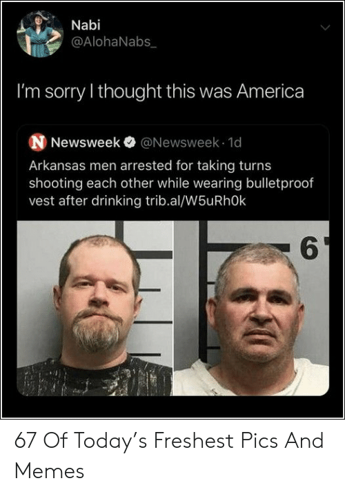 Arkansas: Nabi  @AlohaNabs  I'm sorry I thought this was America  N Newsweek @Newsweek 1d  Arkansas men arrested for taking turns  shooting each other while wearing bulletproof  vest after drinking trib.al/W5uRhOk  6 67 Of Today's Freshest Pics And Memes