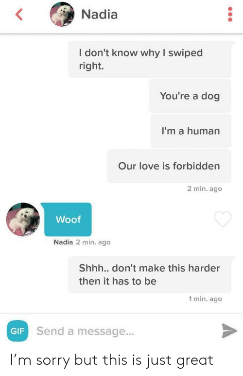 Nadia: Nadia  I don't know why I swiped  right.  You're a dog  I'm a human  Our love is forbidden  2 min. ago  Woof  Nadia 2 min. ago  Shhh.. don't make this harder  then it has to be  1 min. ago  Send a message...  GIF I'm sorry but this is just great