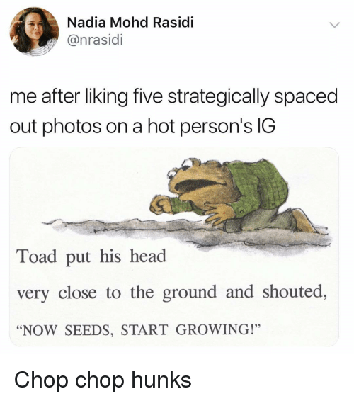 """Nadia: Nadia Mohd Rasidi  @nrasidi  me after liking five strategically spaced  out photos on a hot person's IG  Toad put his head  very close to the ground and shouted,  """"NOW SEEDS, START GROWING!"""" Chop chop hunks"""