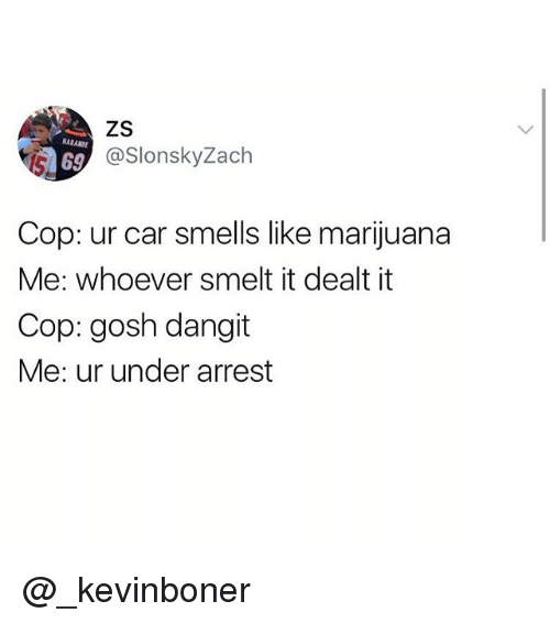 Copping: NARANBE  69  @SlonskyZach  Cop: ur car smells like marijuana  Me: whoever smelt it dealt it  Cop: gosh dangit  Me: ur under arrest @_kevinboner