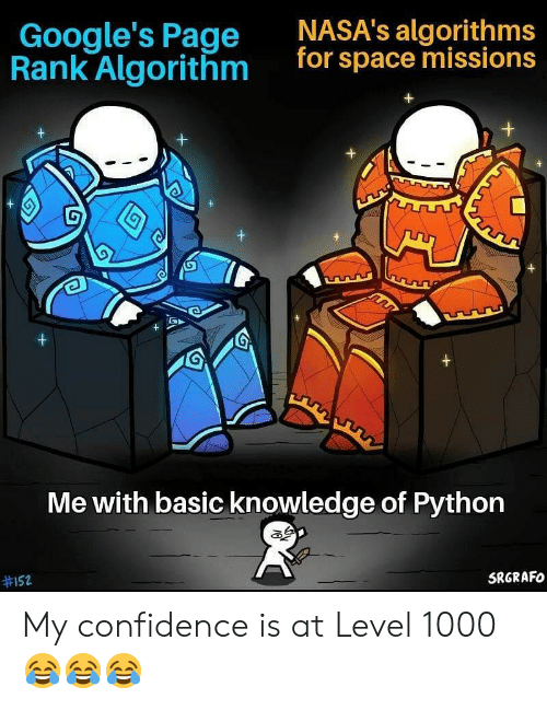 algorithm: NASA's algorithms  for space missions  Google's Page  Rank Algorithm  G  +  +  Me with basic knowledge of Python  SRGRAFO  My confidence is at Level 1000 😂😂😂