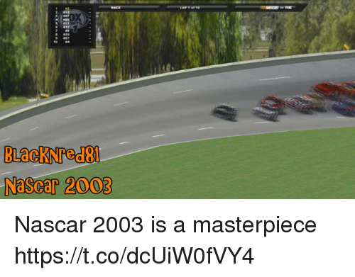 nascar: NaScar 2003 Nascar 2003 is a masterpiece https://t.co/dcUiW0fVY4