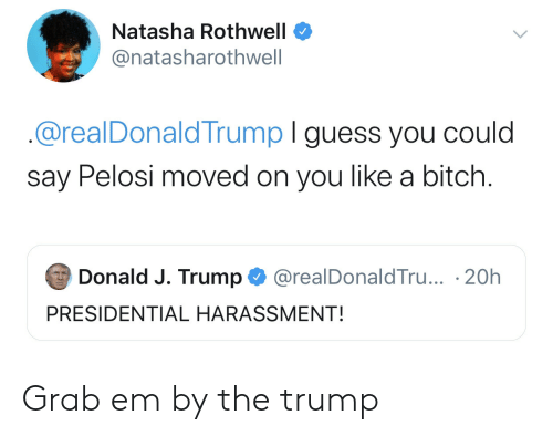 Presidential: Natasha Rothwell  @natasharothwell  @realDonaldTrump I guess you could  say Pelosi moved on you like a bitch.  Donald J. Trump  @realDonaldTru... 20h  PRESIDENTIAL HARASSMENT! Grab em by the trump