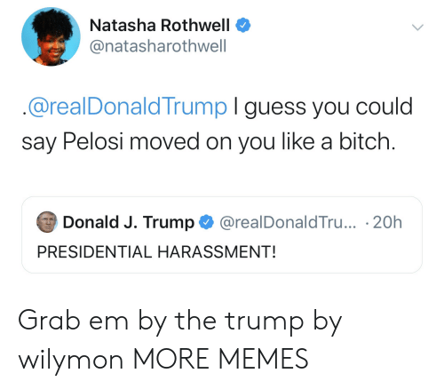 Presidential: Natasha Rothwell  @natasharothwell  @realDonaldTrump I guess you could  say Pelosi moved on you like a bitch.  Donald J. Trump  @realDonaldTru... 20h  PRESIDENTIAL HARASSMENT! Grab em by the trump by wilymon MORE MEMES