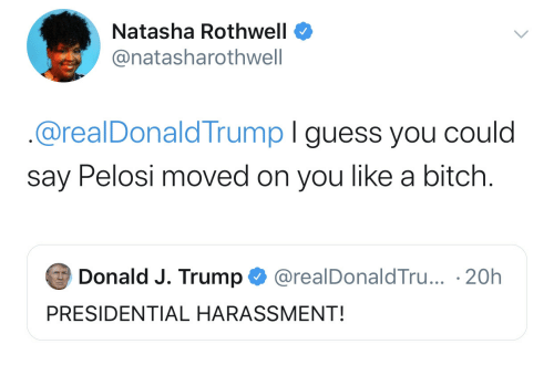 Presidential: Natasha Rothwell  @natasharothwell  @realDonaldTrump I guess you could  say Pelosi moved on you like a bitch.  Donald J. Trump  @realDonaldTru... 20h  PRESIDENTIAL HARASSMENT!