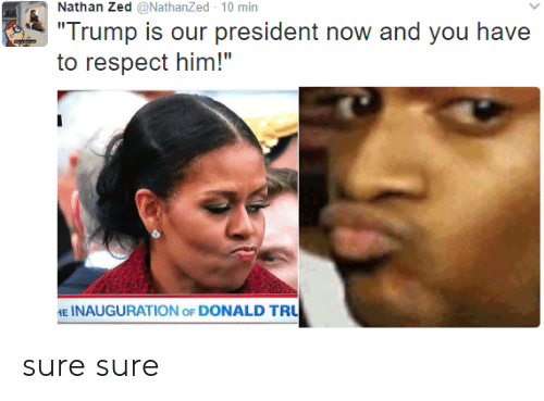 """President Now: Nathan Zed @NathanZed 10 min  Trump is our president now and you have  to respect him!""""  E INAUGURATION oF DONALD TRU sure sure"""