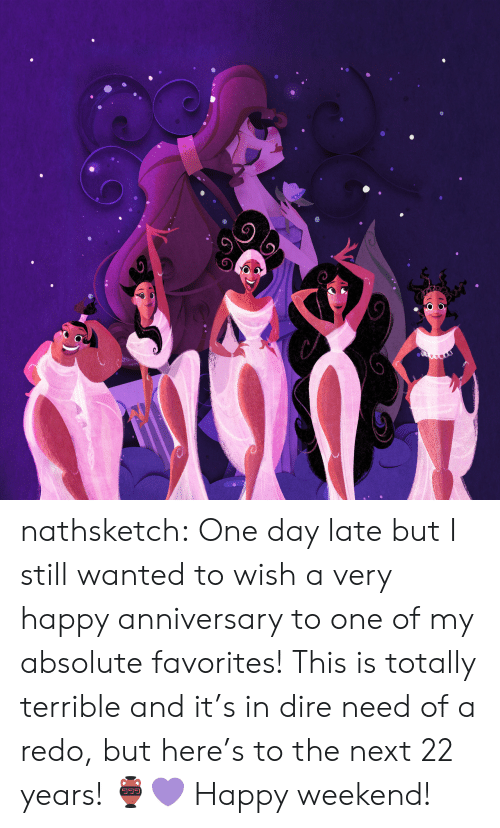 very happy: nathsketch: One day late but I still wanted to wish a very happy anniversary to one  of my absolute favorites! This is totally terrible and it's in dire need  of a redo, but here's to the next 22 years! 🏺💜 Happy weekend!
