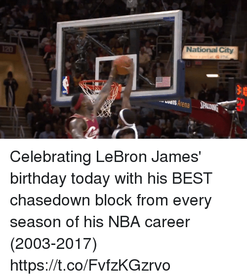 Birthday, LeBron James, and Memes: National City  udis Arena Celebrating LeBron James' birthday today with his BEST chasedown block from every season of his NBA career (2003-2017) https://t.co/FvfzKGzrvo