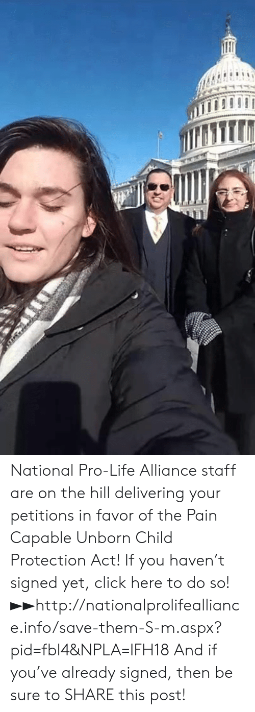 Npla: National Pro-Life Alliance staff are on the hill delivering your petitions in favor of the Pain Capable Unborn Child Protection Act!  If you haven't signed yet, click here to do so! ►►http://nationalprolifealliance.info/save-them-S-m.aspx?pid=fbl4&NPLA=IFH18  And if you've already signed, then be sure to SHARE this post!