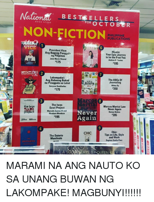 Duterte: NationM BESTE ELLER S  BOOKSTORE  FOR  R  NON-FICTION  PHILIPPINE  PUBLICATIONS  President Vice:  #Guais:  Ang Bagong Panggulo  Your Epic Journey  ng Pilipinas  to be the Best You  Jose Marie Viceral  Andrea Br Nantes  P175  P195  LAKOMFAREI  Lakompake!  The ABCs of  Ang Babaeng Bukod  Journaling  na Pinagpala sa Lahat  Abbey Sy  Senyora Santibanez  P350  P175  The Iwas  Marcos Martial Law  Sawi Project  Never Again  Marcelo Santos III and  Never  Raissa Robles  Rhadson Mendoza  P395  Again  P195  Chic  CHIC  Tips on Life, Style  The Duterte  and Work  Manifesto  Daphne Osella-Paez MARAMI NA ANG NAUTO KO SA UNANG BUWAN NG LAKOMPAKE! MAGBUNYI!!!!!!
