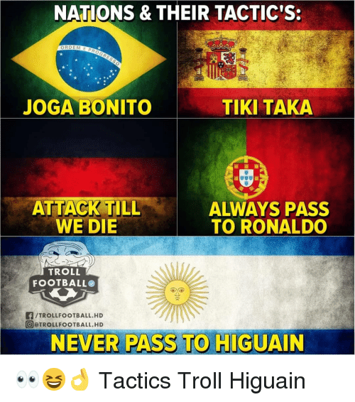 Troll Football: NATIONS & THEIR TACTIC'S:  JOGA BONITO  TIKI TAKA  ALWAYS PASS  TO RONALDO  WE DIE  TROLL  FOOTBALL  f/TROLLFOOTBALL.HD  @ @TROLLFOOTBALL. HD  NEVER PASS TO HIGUAIN 👀😆👌 Tactics Troll Higuain