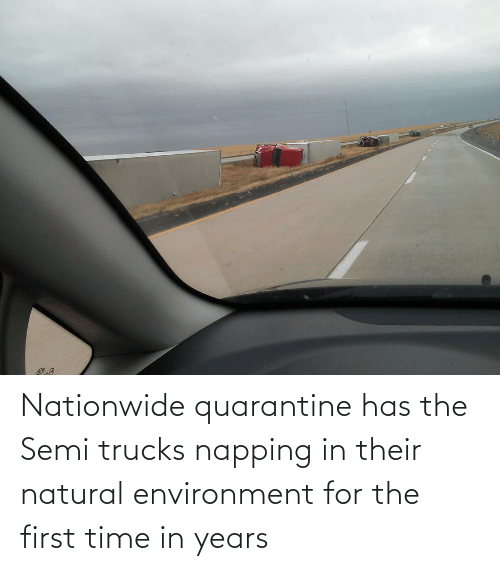 Trucks: Nationwide quarantine has the Semi trucks napping in their natural environment for the first time in years