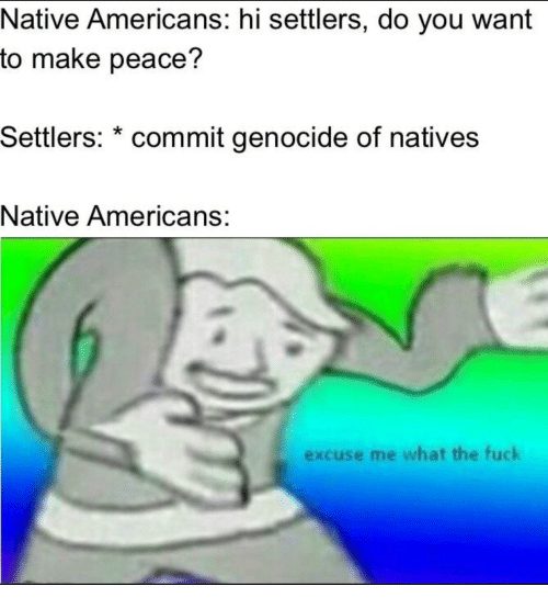 native americans: Native Americans: hi settlers, do you want  to make peace?  Settlers: * commit genocide of natives  Native Americans:  excuse me what the fuck