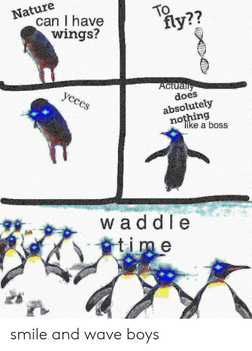 Absolutely Nothing: Nature  can I have  wings?  TO  fly??  Aclually  does  yeees  absolutely  nothing  Tike a boss  waddle  time smile and wave boys
