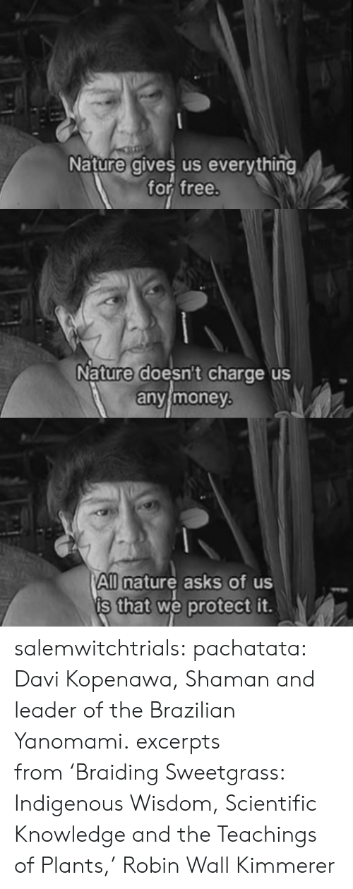 Brazilian: Nature gives us everything  for free   Nature doesnt charge us  anvimoney   All nature asks of us  s that we protect it. salemwitchtrials:  pachatata:  Davi Kopenawa, Shaman and leader of the Brazilian Yanomami.  excerpts from'Braiding Sweetgrass: Indigenous Wisdom, Scientific Knowledge and the Teachings of Plants,'Robin Wall Kimmerer