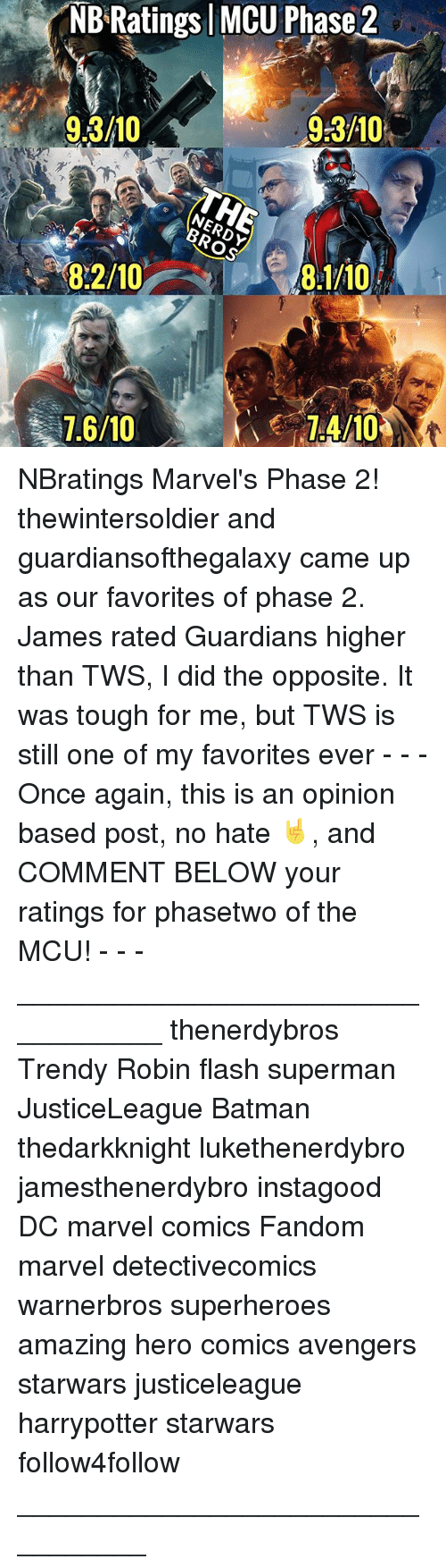 Batman, Marvel Comics, and Memes: NB Ratings MCU Phase 2  9.3/10  9:3/10  /W  8:2/10  7.6/10  7:4/10 NBratings Marvel's Phase 2! thewintersoldier and guardiansofthegalaxy came up as our favorites of phase 2. James rated Guardians higher than TWS, I did the opposite. It was tough for me, but TWS is still one of my favorites ever - - - Once again, this is an opinion based post, no hate 🤘, and COMMENT BELOW your ratings for phasetwo of the MCU! - - - __________________________________ thenerdybros Trendy Robin flash superman JusticeLeague Batman thedarkknight lukethenerdybro jamesthenerdybro instagood DC marvel comics Fandom marvel detectivecomics warnerbros superheroes amazing hero comics avengers starwars justiceleague harrypotter starwars follow4follow _________________________________