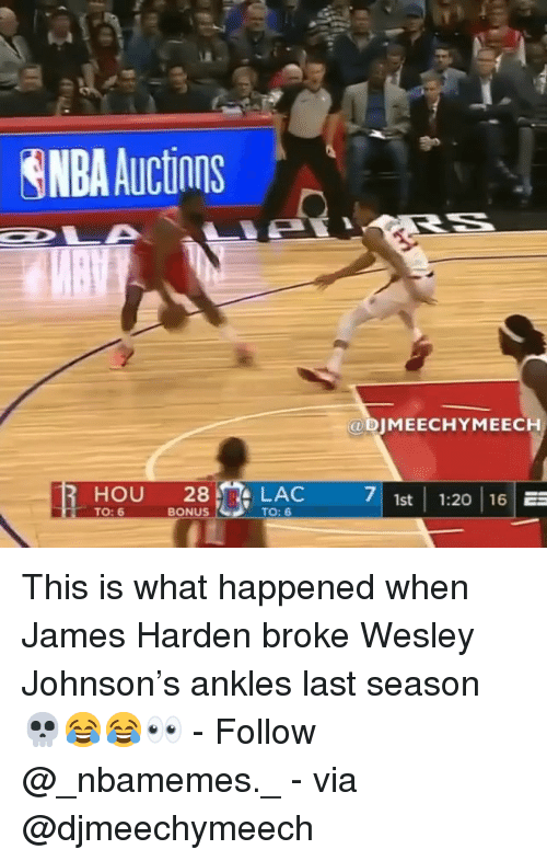 James Harden, Memes, and Nba: NBA Auctions  @ DIMEECHYMEECH  HOU 28 LAC  71st 1:20 16  TO: 6  BONUS  TO: 6 This is what happened when James Harden broke Wesley Johnson's ankles last season 💀😂😂👀 - Follow @_nbamemes._ - via @djmeechymeech