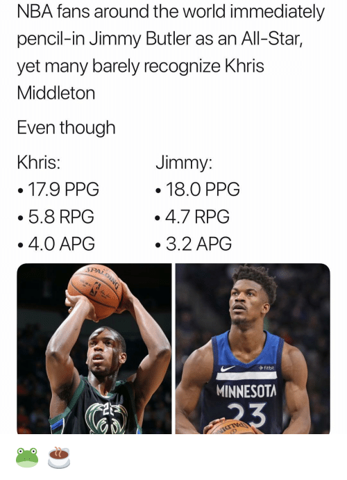 Jimmy Butler: NBA fans around the world immediately  pencil-in Jimmy Butler as an All-Star,  yet many barely recognize Khris  Middleton  Even tnough  Khris  Jimmy  . 18.0 PPG  .4.7 RPG  3.2 APG  5.8 RPG  4.0 APOG  fitbit  MINNESOTA 🐸 ☕️
