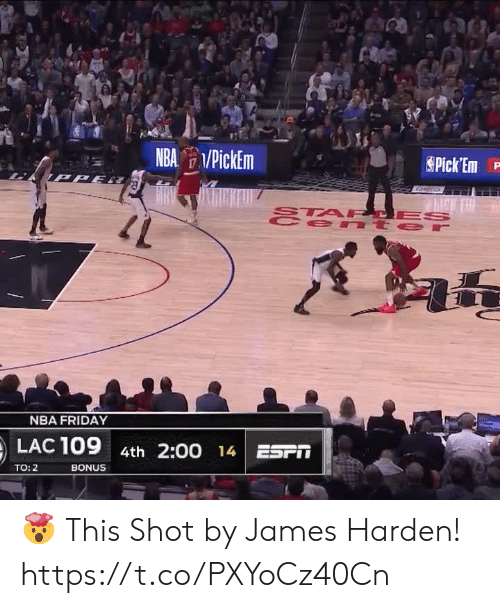 NBA: NBA PickEm  Pick Em  TPPE  STA PCES  e nt er  47  NBA FRIDAY  LAC 109  4th 2:00 14 ESPT  BONUS  TO: 2 🤯 This Shot by James Harden!   https://t.co/PXYoCz40Cn