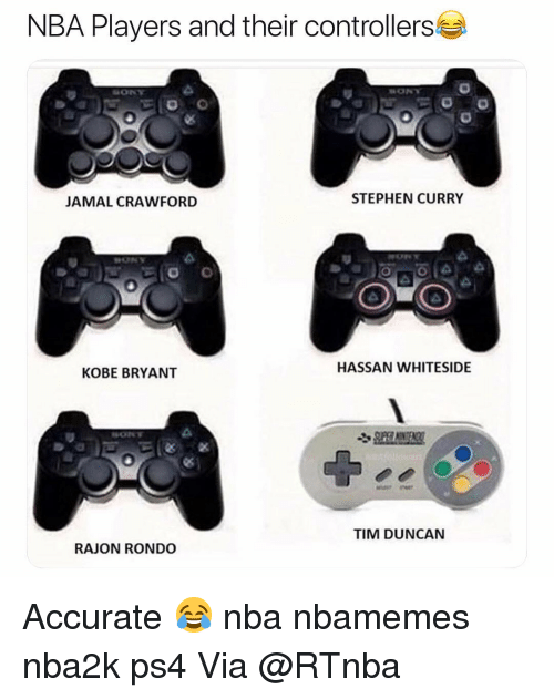 Stephen Curry: NBA Players and their controllers  JAMAL CRAWFORD  STEPHEN CURRY  HASSAN WHITESIDE  KOBE BRYANT  TIM DUNCAN  RAJON RONDO Accurate 😂 nba nbamemes nba2k ps4 Via @RTnba