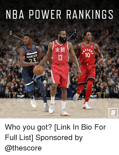 rankings: NBA POWER RANKINGS  TO  10  MINNESOT  13 Who you got? [Link In Bio For Full List] Sponsored by @thescore