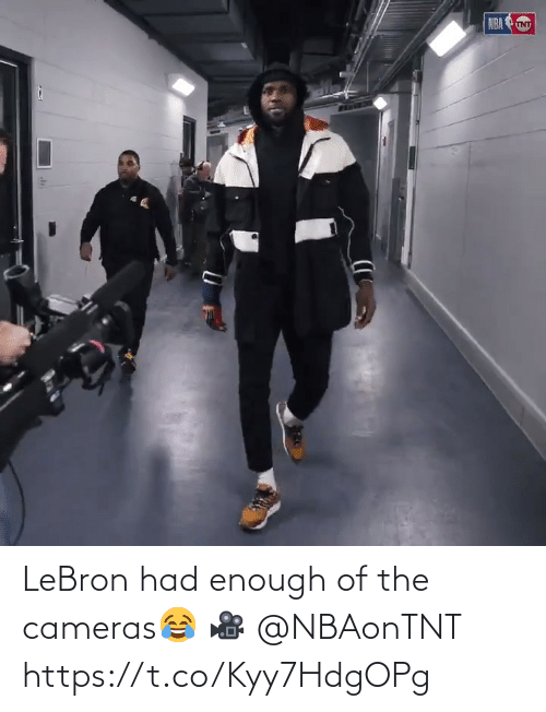 NBA: NBA TNT LeBron had enough of the cameras😂  🎥 @NBAonTNT  https://t.co/Kyy7HdgOPg