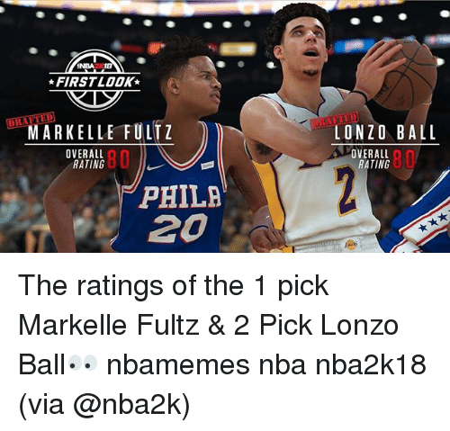 Basketball, Nba, and Sports: NBA18  FIRST LOOK  MARKELLE FULTZ  LONZO BALL  OVERALL  RATING  80  OVERALL  RATING  80  PHILA  20 The ratings of the 1 pick Markelle Fultz & 2 Pick Lonzo Ball👀 nbamemes nba nba2k18 (via @nba2k)