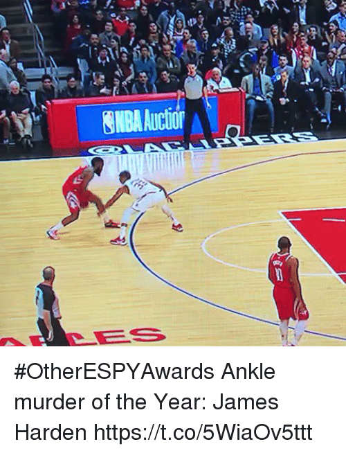 James Harden, Sports, and Murder: NBAAuctior #OtherESPYAwards  Ankle murder of the Year: James Harden  https://t.co/5WiaOv5ttt