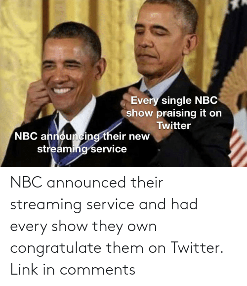 nbc: NBC announced their streaming service and had every show they own congratulate them on Twitter. Link in comments