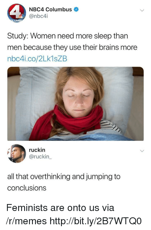 Brains, Memes, and Http: NBC4 Columbus  @nbc4i  UM  Study: Women need more sleep than  men because they use their brains more  nbc4i.co/2Lk1sZB  ruckin  @ruckin  all that overthinking and jumping to  conclusions Feminists are onto us via /r/memes http://bit.ly/2B7WTQ0