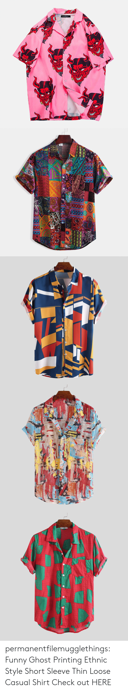 Funny, Tumblr, and Blog: NCERUN   XL permanentfilemugglethings: Funny Ghost Printing Ethnic Style Short Sleeve Thin Loose Casual Shirt Check out HERE
