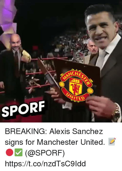 Soccer, Ted, and Manchester United: NCH  TED  SPORF BREAKING: Alexis Sanchez signs for Manchester United. 📝🔴✅    (@SPORF) https://t.co/nzdTsC9Idd