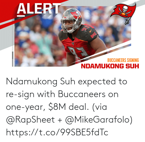 sign: Ndamukong Suh expected to re-sign with Buccaneers on one-year, $8M deal. (via @RapSheet + @MikeGarafolo) https://t.co/99SBE5fdTc