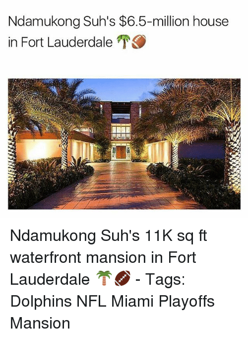 Memes, Nfl, and Dolphin: Ndamukong Suh's $6.5-million house  in Fort Lauderdale Ndamukong Suh's 11K sq ft waterfront mansion in Fort Lauderdale 🌴🏈 - Tags: Dolphins NFL Miami Playoffs Mansion