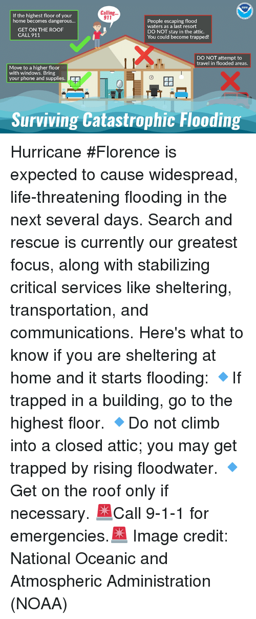 Life, Phone, and Windows: NDAR  Calling.  If the highest floor of your  home becomes dangerous...  911  People escaping flood  waters as a last resort  DO NOT stay in the attic.  You could become trapped!  GET ON THE ROOF  CALL 911  DO NOT attempt to  travel in flooded areas.  Move to a higher floor  with windows. Bring  your phone and supplies.  0  IT  Surviving Catastrophic Flooding Hurricane #Florence is expected to cause widespread, life-threatening flooding in the next several days. Search and rescue is currently our greatest focus, along with stabilizing critical services like sheltering, transportation, and communications.  Here's what to know if you are sheltering at home and it starts flooding:  🔹If trapped in a building, go to the highest floor. 🔹Do not climb into a closed attic; you may get trapped by rising floodwater. 🔹Get on the roof only if necessary.  🚨Call 9-1-1 for emergencies.🚨  Image credit: National Oceanic and Atmospheric Administration (NOAA)