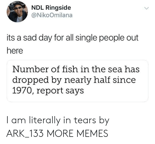 Dank, Memes, and Target: NDL Ringside  @NikoOmilana  its a sad day for all single people out  here  Number of fish in the sea has  dropped by nearly half since  1970, report says I am literally in tears by ARK_133 MORE MEMES