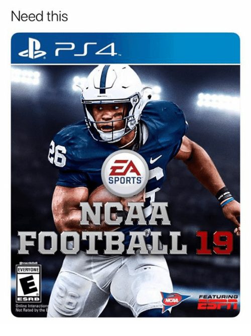ea sports: Need this  EA  SPORTS  NGAA  FOOTBALL  EVERYONE  FEATURING  ESRB  Online Interactio  Not Rated by the
