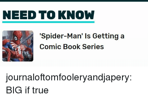 Comic-book: NEED TO KNOW  'Spider-Man' Is Getting a  Comic Book Series journaloftomfooleryandjapery:  BIG if true