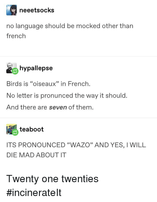 """Tumblr, Birds, and French: neeetsocks  no language should be mocked other than  french  hypallepse  Birds is """"oiseaux""""in French  No letter is pronunced the way it should.  And there are seven of them  teaboot  ITS PRONOUNCED """"WAZO"""" AND YES, I WILL  DIE MAD ABOUT IT"""