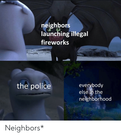 Police, Fireworks, and Neighbors: neighbors  launching illegal  fireworks  the police  everybody  else in the  neighborhood Neighbors*
