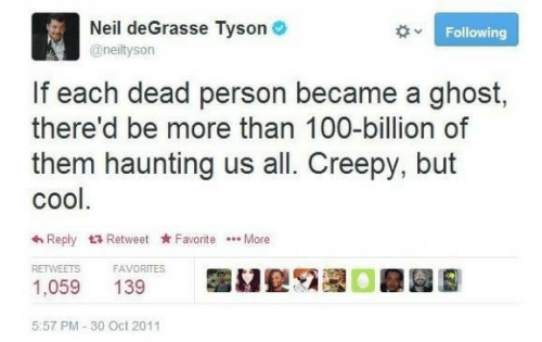 Creepy: Neil deGrasse Tyson O  Following  @neiltyson  If each dead person became a ghost,  there'd be more than 100-billion of  them haunting us all. Creepy, but  cool.  6 Reply 17 Retweet Favorite .. More  RETWEETS  FAVORITES  1,059  139  5:57 PM - 30 Oct 2011