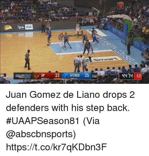 Memes, Back, and 🤖: NELW  ERA  10  4474 1a Juan Gomez de Liano drops 2 defenders with his step back. #UAAPSeason81  (Via @abscbnsports)  https://t.co/kr7qKDbn3F