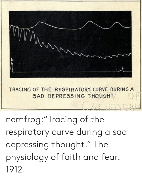 "stream: nemfrog:""Tracing of the respiratory curve during a sad depressing thought."" The physiology of faith and fear. 1912."