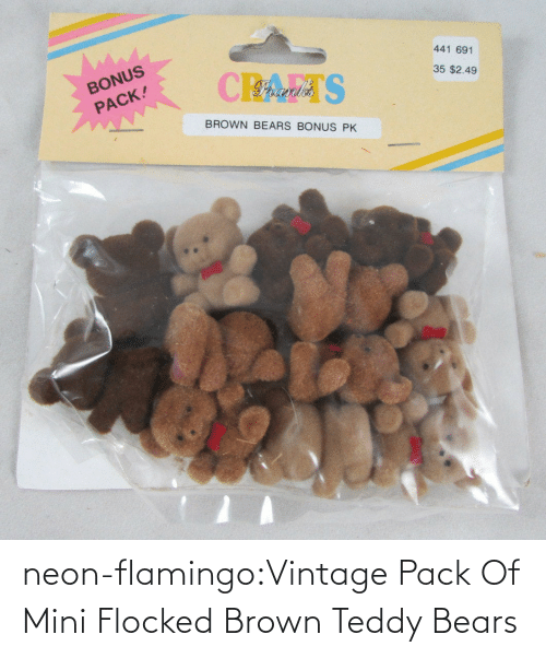 vintage: neon-flamingo:Vintage Pack Of Mini Flocked Brown Teddy Bears