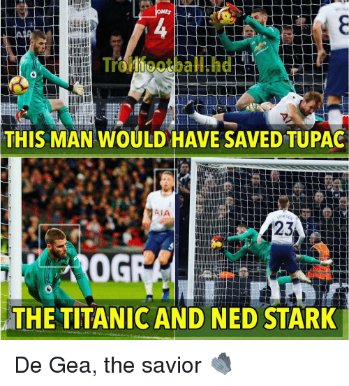 Memes, Titanic, and Ned Stark: NES  rollfootball.hd  THIS MAN WOULD HAVE SAVED TUPAG  AIA  0G  THE TITANIC AND NED STARK De Gea, the savior 🧤