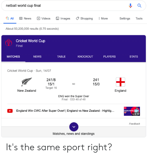 cricket world cup: netball world cup final  a All  News  Videos  Images  Shopping  More  Settings  Tools  About 50,200,000 results (0.75 seconds)  Cricket World Cup  Final  PLAYERS  MATCHES  NEWS  TABLE  KNOCKOUT  STATS  Cricket World Cup Sun, 14/07  241/8  241  15/1  Target 16  15/0  New Zealand  England  ENG won the Super Over  Final ODI 48 of 48  England Win CWWC After Super Over!   England vs New Zealand Highlig...  HIGHLIGHTS  -  8:10  Feedback  Matches, news and standings It's the same sport right?