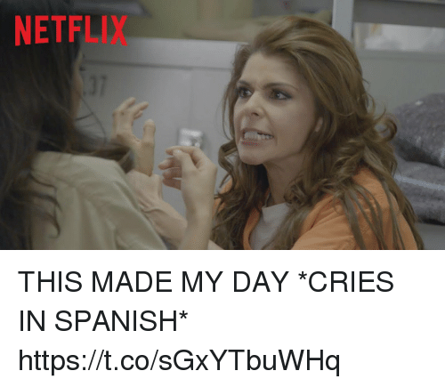 Funny, Netflix, and Spanish: NETFLIX  37 THIS MADE MY DAY  *CRIES IN SPANISH*  https://t.co/sGxYTbuWHq